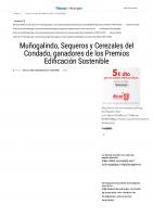 Prensa_2017_01_19_Munogalindo Sequeros y Cerezales del Condado, ganadores de los Premios Edificacion Sostenible_Tribuna de Burgos
